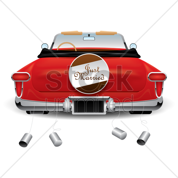 just married car vector graphic