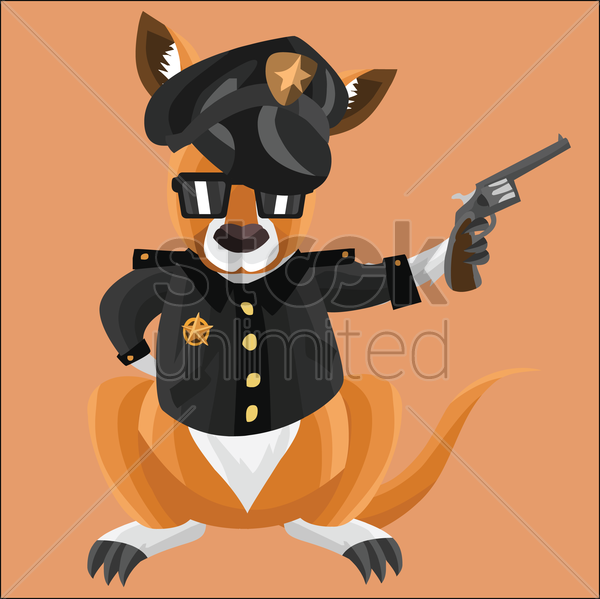 kangaroo as a cop on peach background vector graphic