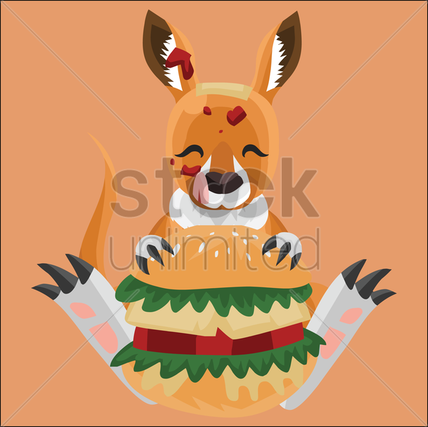 kangaroo eating hamburger on peach background vector graphic