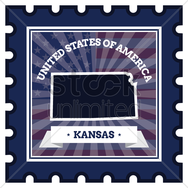 kansas postage stamp vector graphic