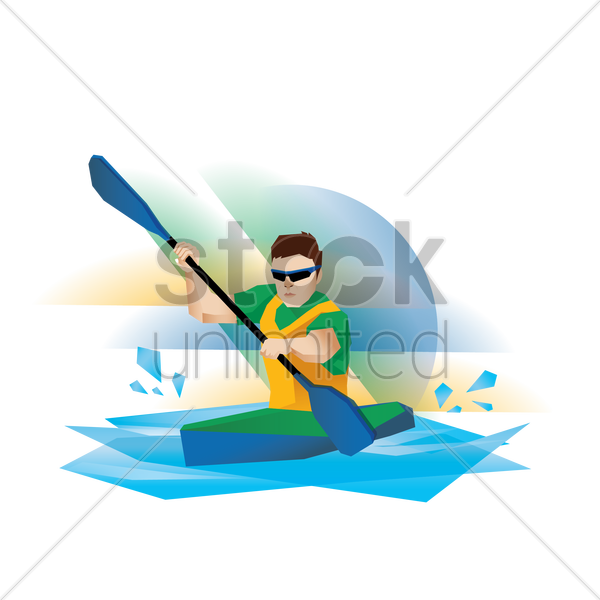 kayak participant in action vector graphic