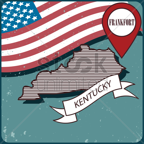 kentucky map label vector graphic