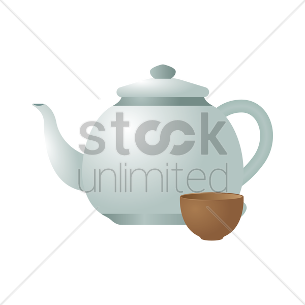 kettle with cup vector graphic