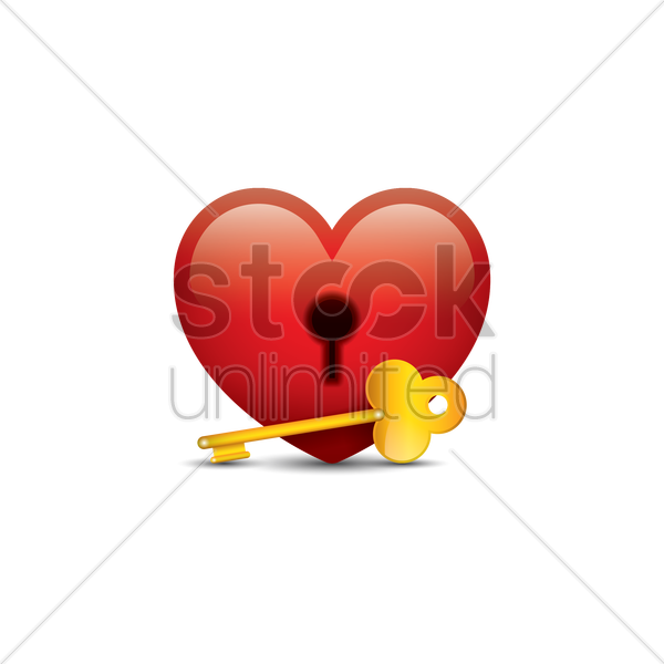 key and keyhole heart vector graphic