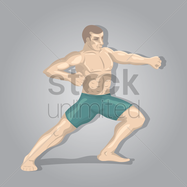 kickboxing player in pose vector graphic