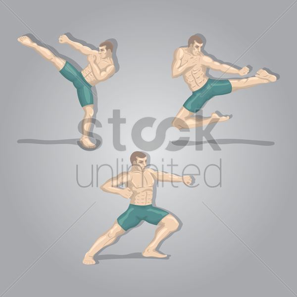 kickboxing player in poses vector graphic