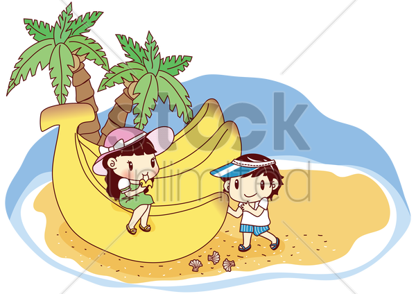 kids eating giant bananas on beach vector graphic