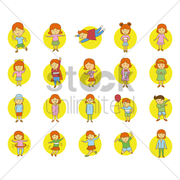 kids in various action pose vector graphic