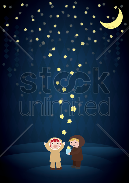 kids playing stars falling from the sky vector graphic