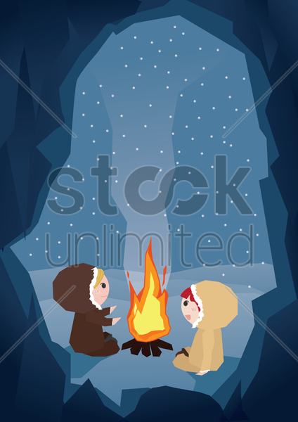 kids sitting near campfire vector graphic