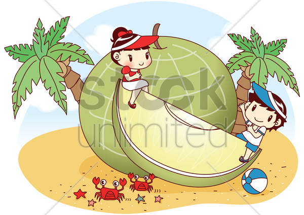 kids sitting on giant rock melon on beach vector graphic