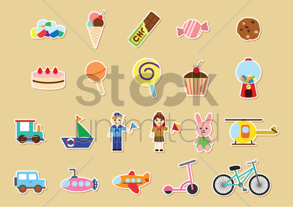 kids stickers collection vector graphic