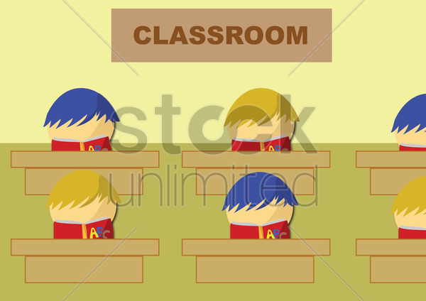 kids studying in classroom vector graphic