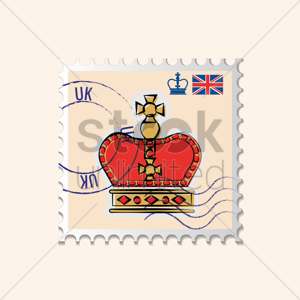 kings crown postage stamp vector graphic