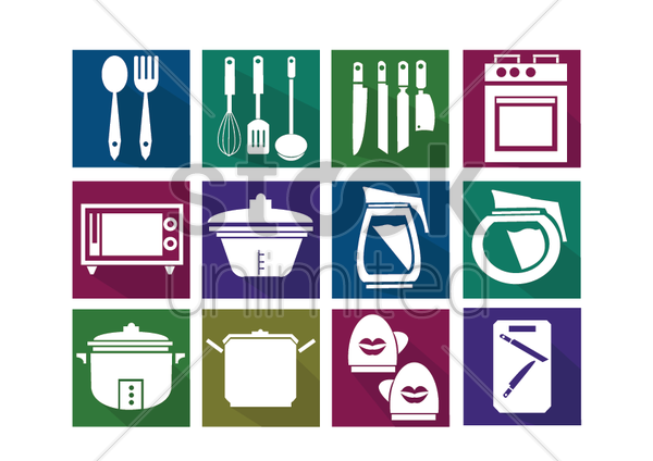 kitchen items vector graphic