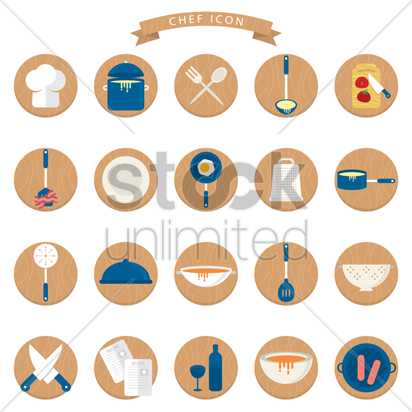 kitchen related objects set vector graphic
