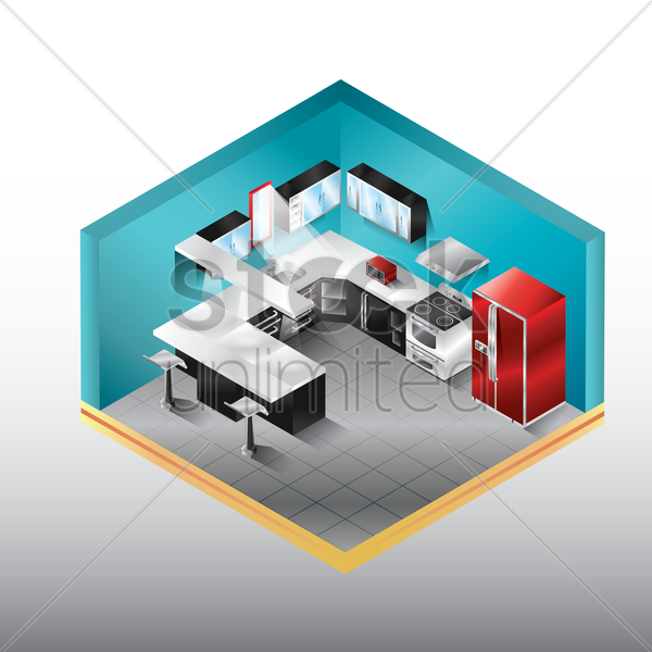 kitchen room vector graphic