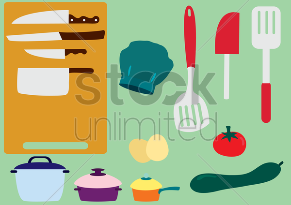 kitchen utensils and vegetables vector graphic