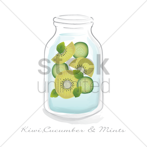 kiwi, cucumber and mints in a jar vector graphic