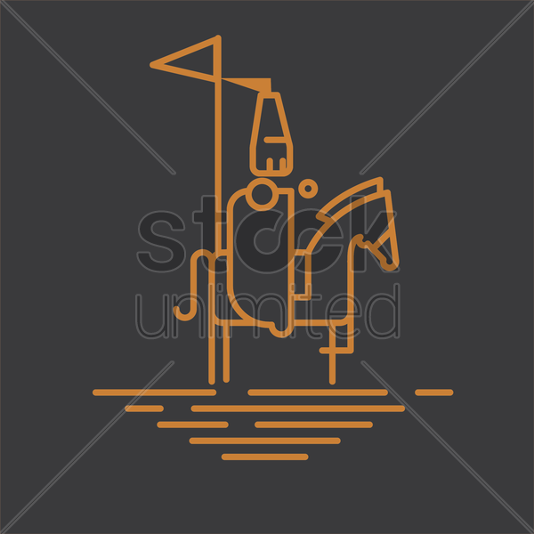 knight on horseback with flag vector graphic
