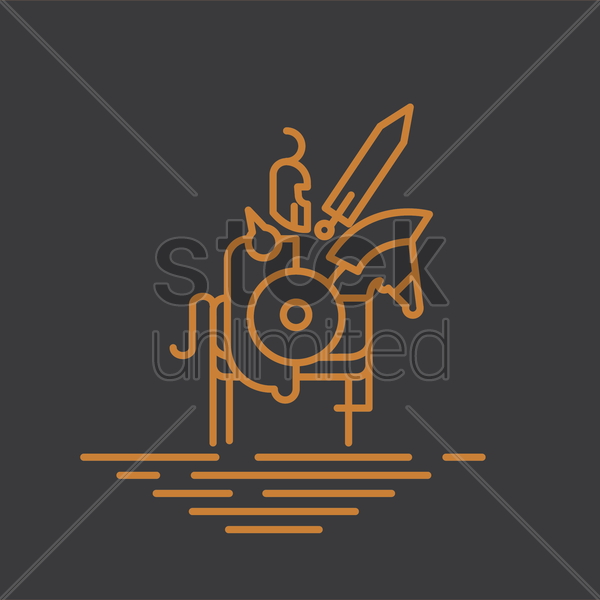 knight with sword on horseback vector graphic