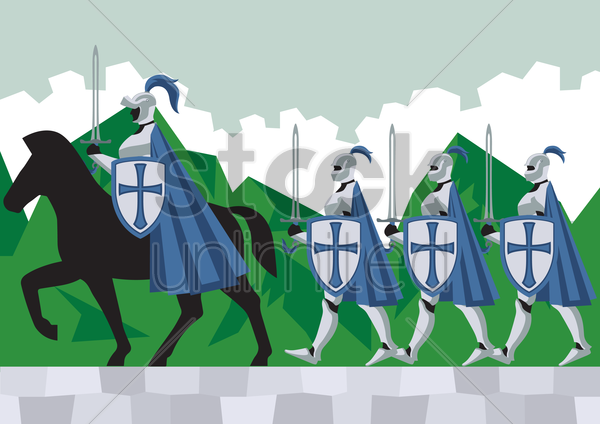 knights following their commander vector graphic