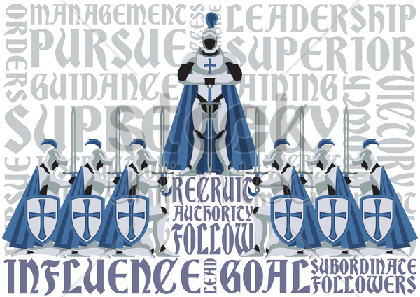 Free knights kneeling to their commander vector graphic