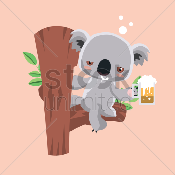 Free koala bear drinking beer vector graphic