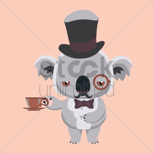 Free koala bear holding coffee cup vector graphic