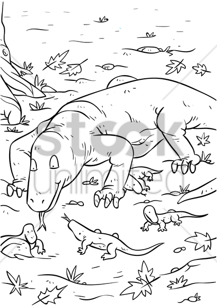komodo dragon with hatchlings vector graphic