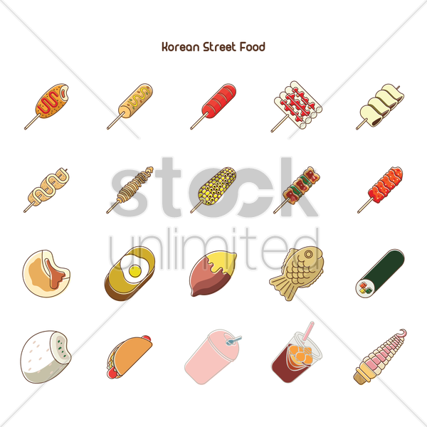 Korean street food collection Vector Image - 1550220 | StockUnlimited