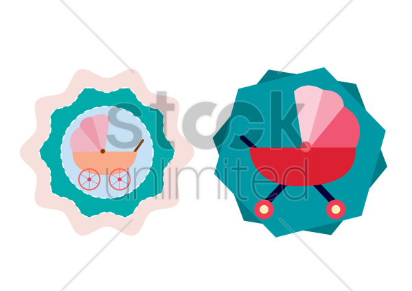 labels of baby carriage vector graphic
