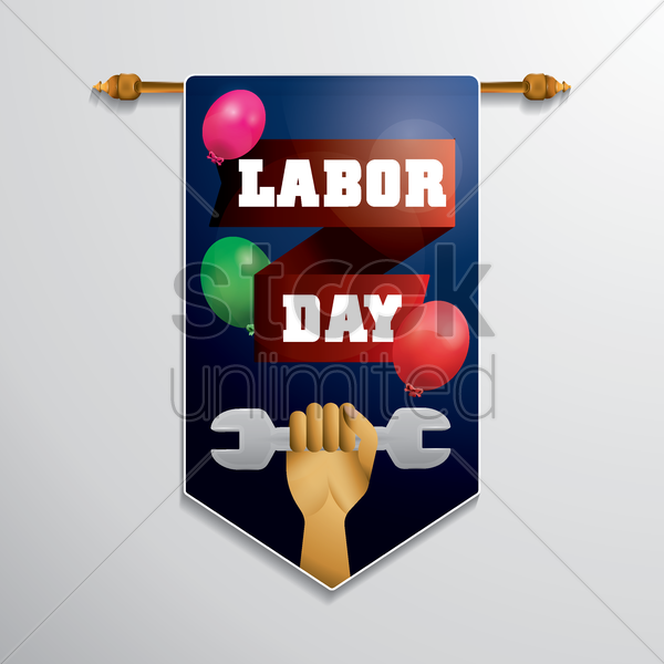 labor day hanging pennant vector graphic