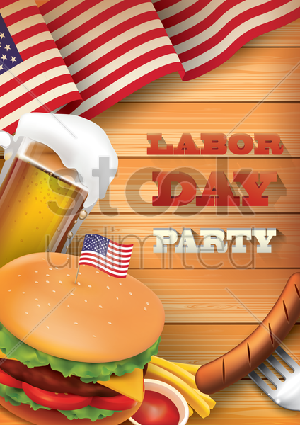 labor day party poster vector graphic