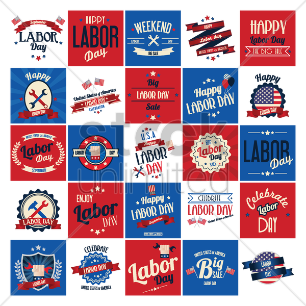 labor day poster and labels set vector graphic