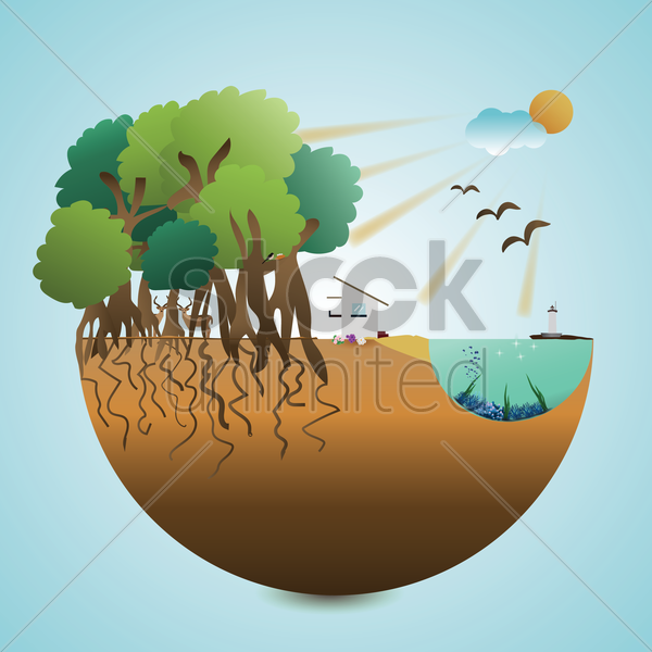 landscape cross-section vector graphic