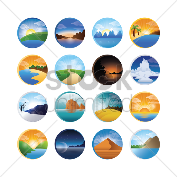 landscape icons collection vector graphic