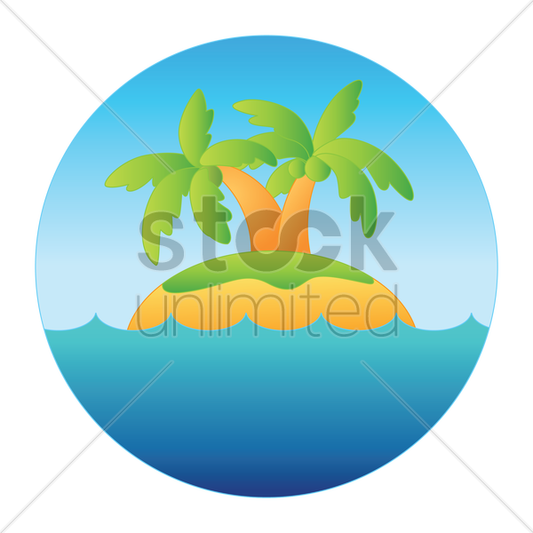 landscape with small tropical island vector graphic