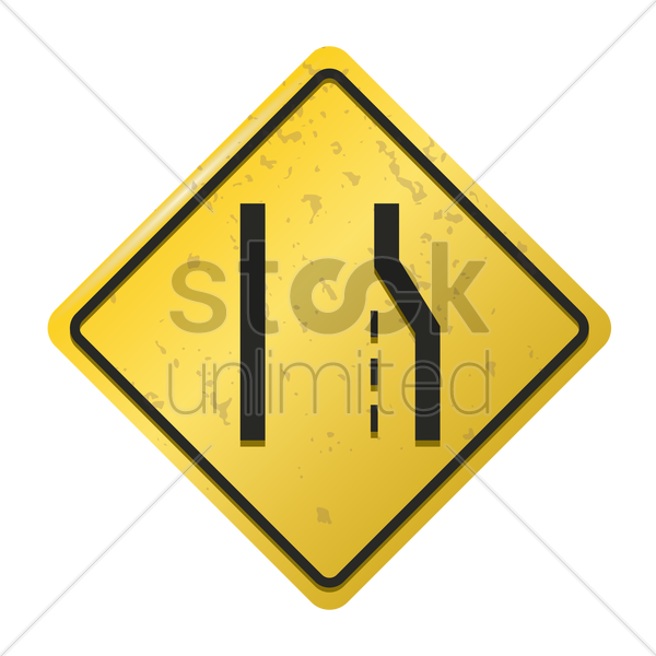 lane ends merge left sign vector graphic