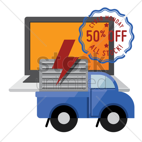laptop and delivery truck with cyber monday sale stamp vector graphic