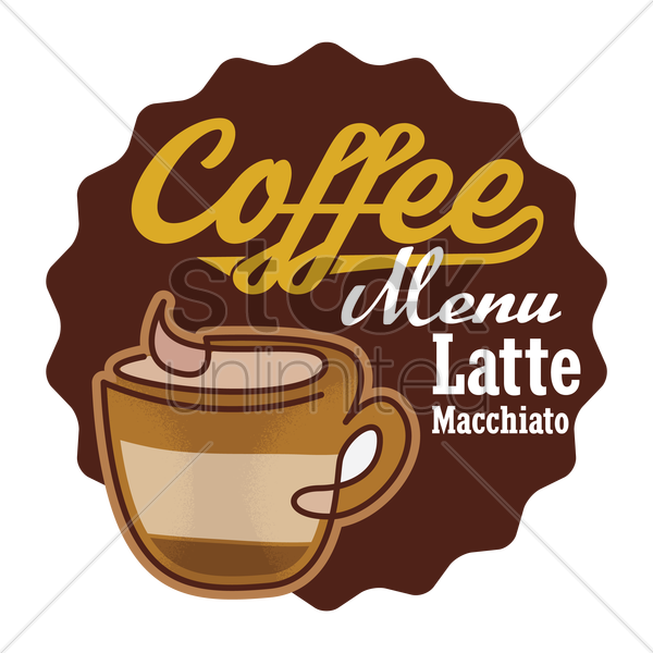 latte macchiato label vector graphic