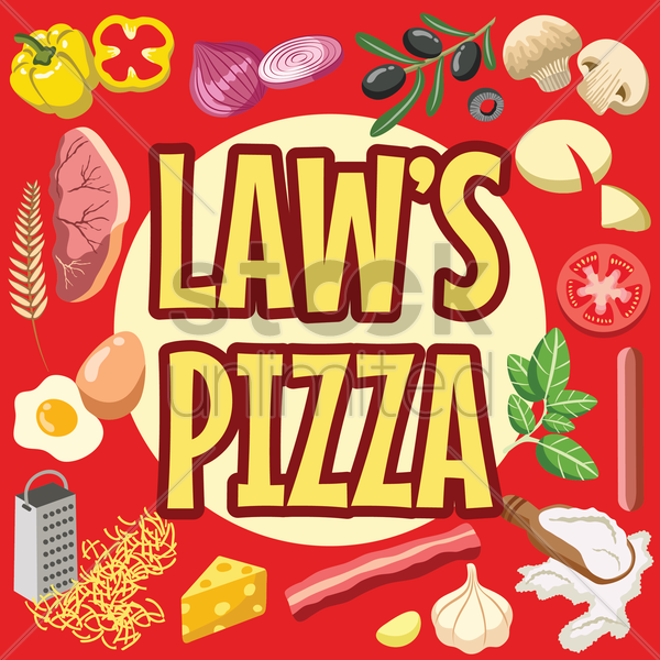 law's pizza design vector graphic