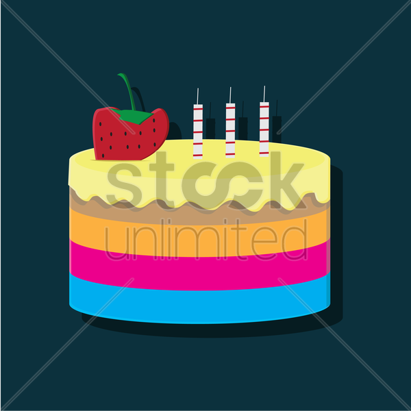 Free layered cake with strawberry vector graphic