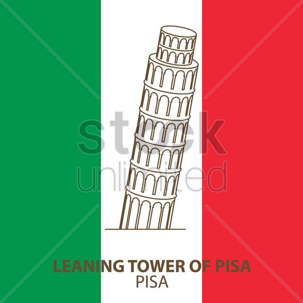 leaning tower of pisa vector graphic