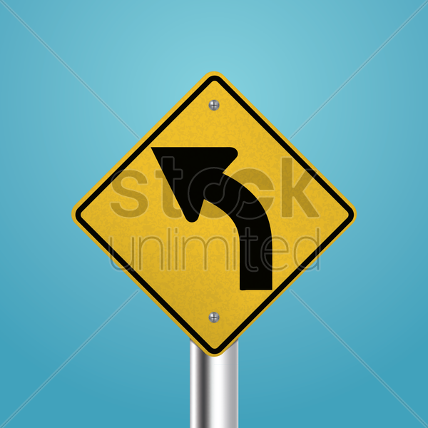 left curve signboard vector graphic