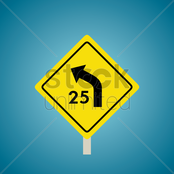 left curve with advisory speed sign vector graphic