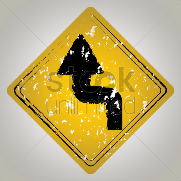 left reverse turn road sign vector graphic