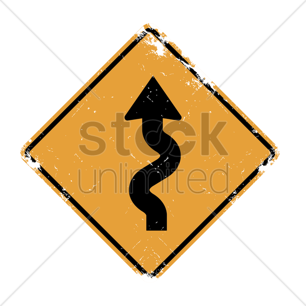 left-sided winding road sign vector graphic
