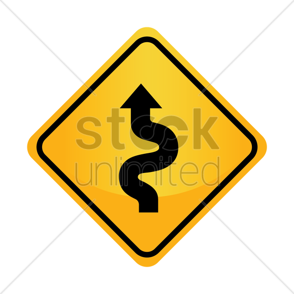 Free left-sided winding road sign vector graphic