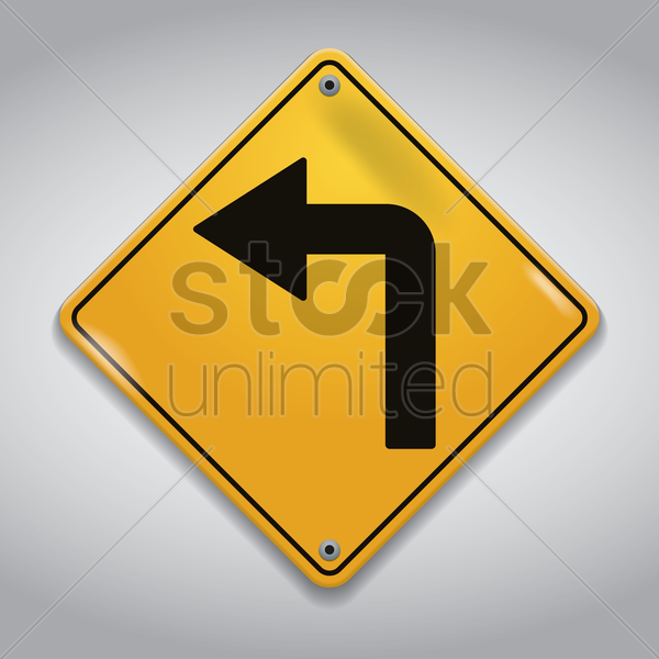 left turn road sign vector graphic